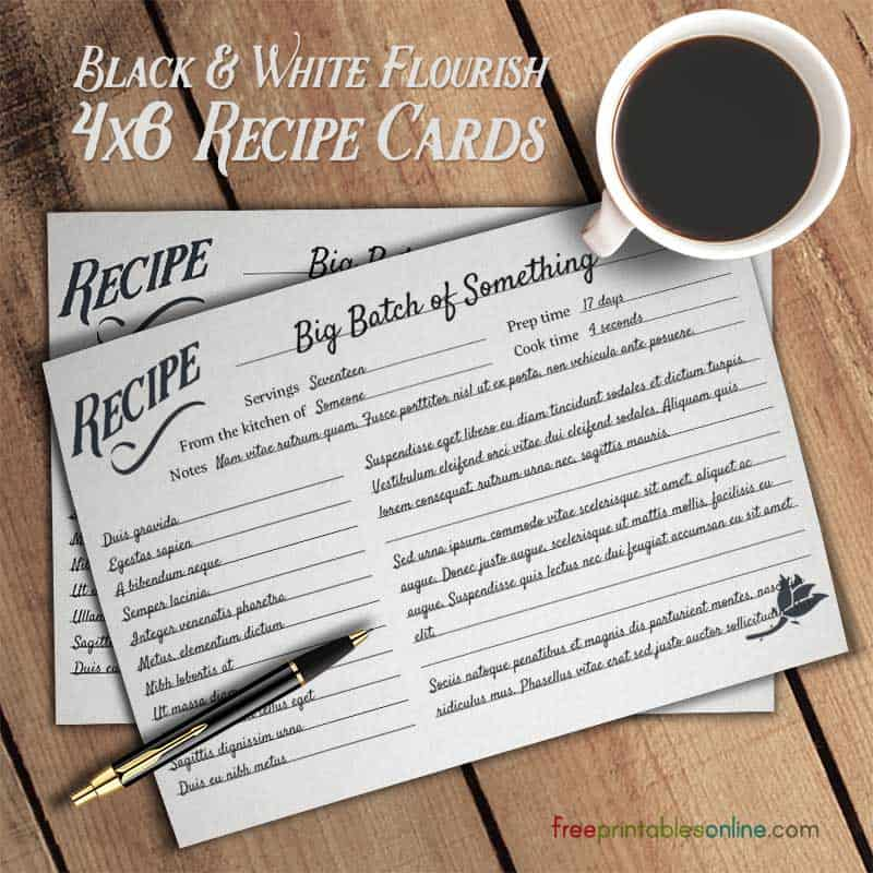 Black and White Simple Recipe Cards