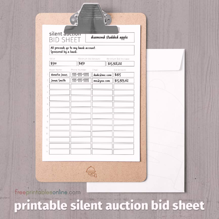 Black and white printable silent auction bid sheet free for Auction bid cards template
