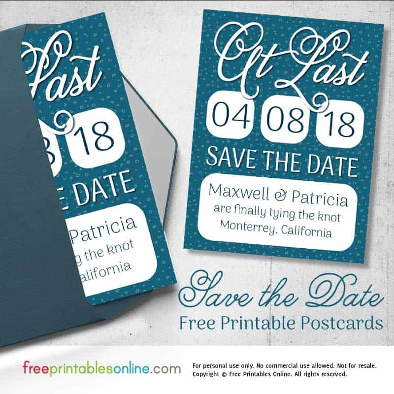 Printable Save the Date Postcards