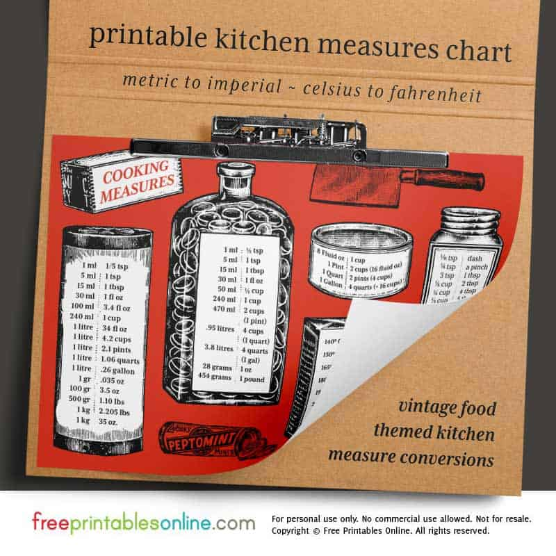 Vintage Kitchen Measurement Converter Chart Free Printables Online