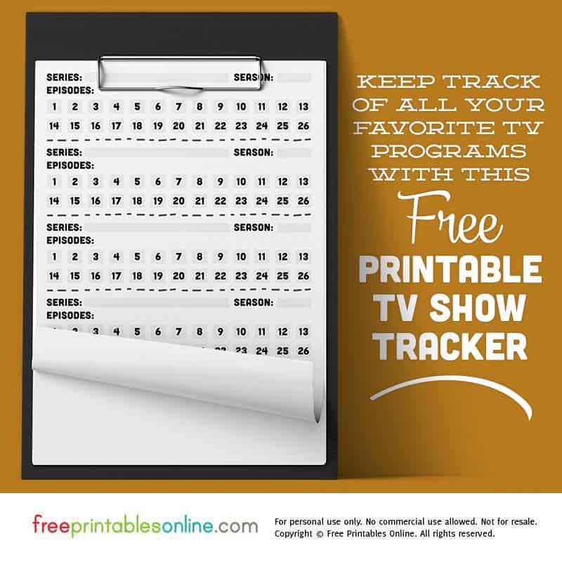 Printable TV Show Tracker