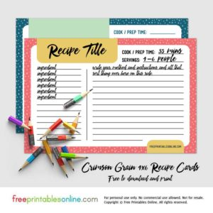 crimson grain printable 46 recipe cards