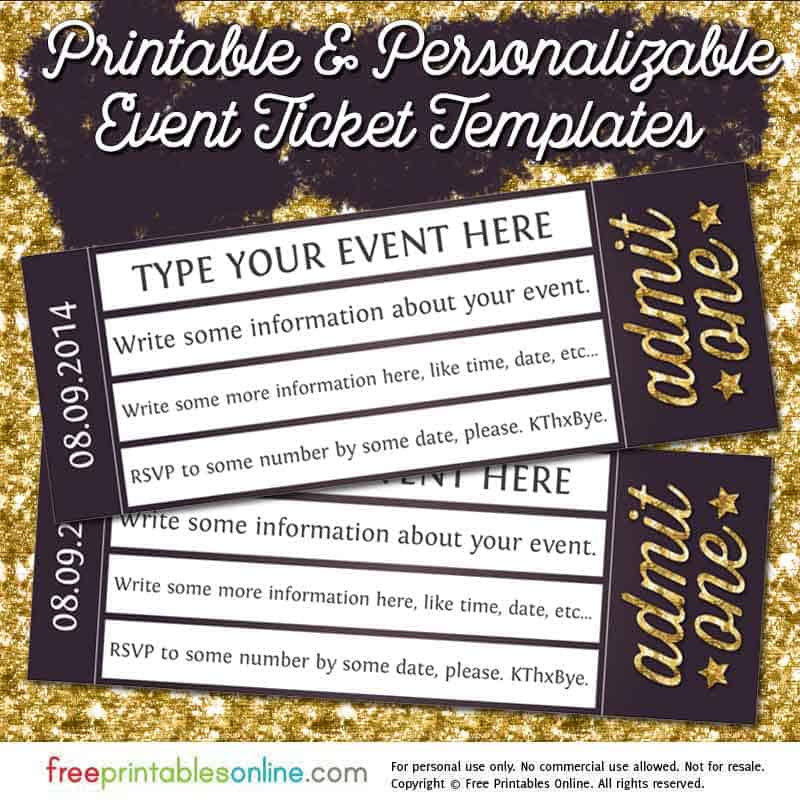 Admit One Gold Event Ticket Template Free Printables Online - Admit one ticket template
