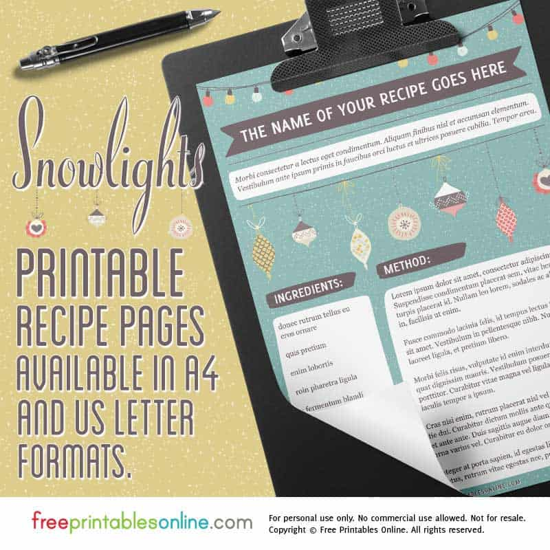 Seasonal recipe pdf template