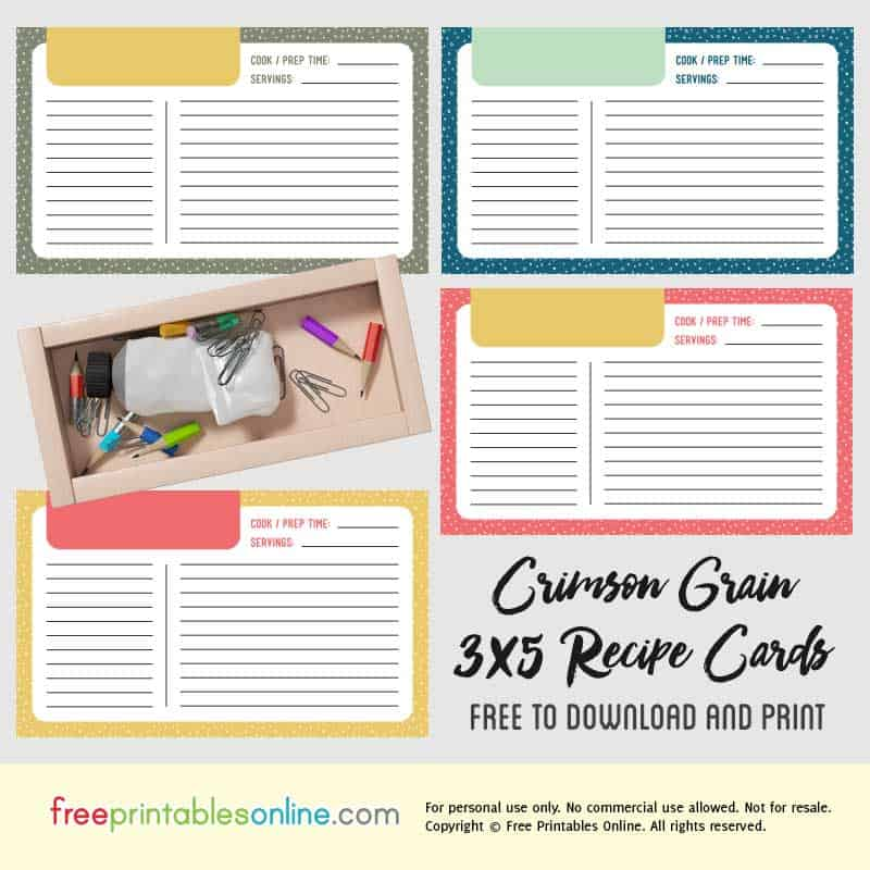 Crimson Grain Printable 3x5 Recipe Cards