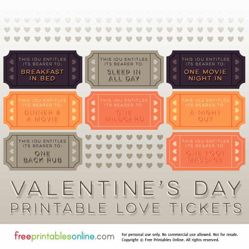 Valentine's Day Love Tickets