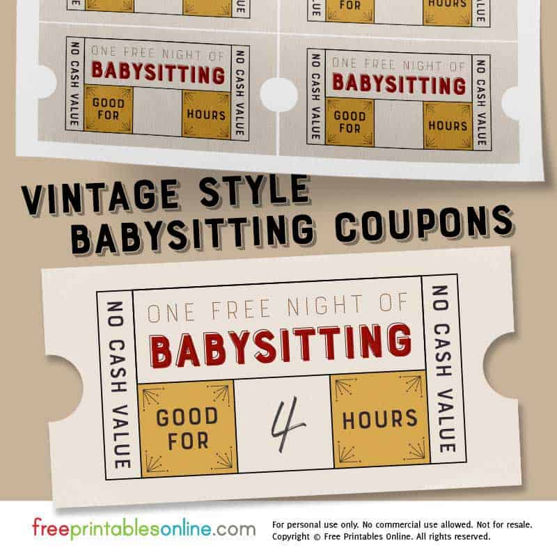 photograph regarding Free Printable Babysitting Coupons named Classic Style and design Absolutely free Babysitting Coupon Template - Absolutely free
