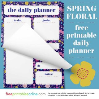 printable daily page planner