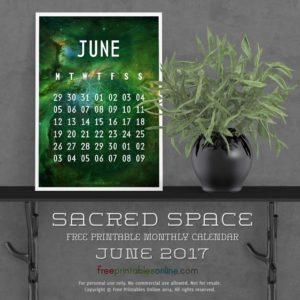 Outer Space June 2017 Calendar