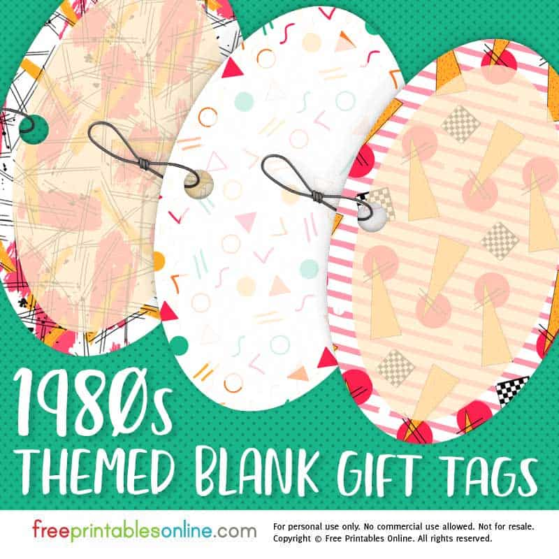 1980s Patterned Blank Printable Gift Tags Free Printables Online