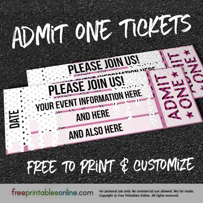Drip Drop Admit One Ticket Template Free Printables Online - Admit one ticket template