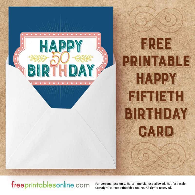 Printable Happy 50th Birthday Card