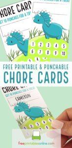 Dinosaur Chore Punch Cards