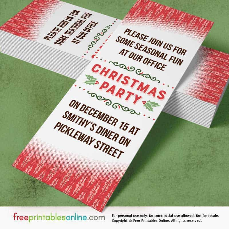 Christmas Party Ticket Template Free: Holly Red Printable Office Christmas Party Invitations