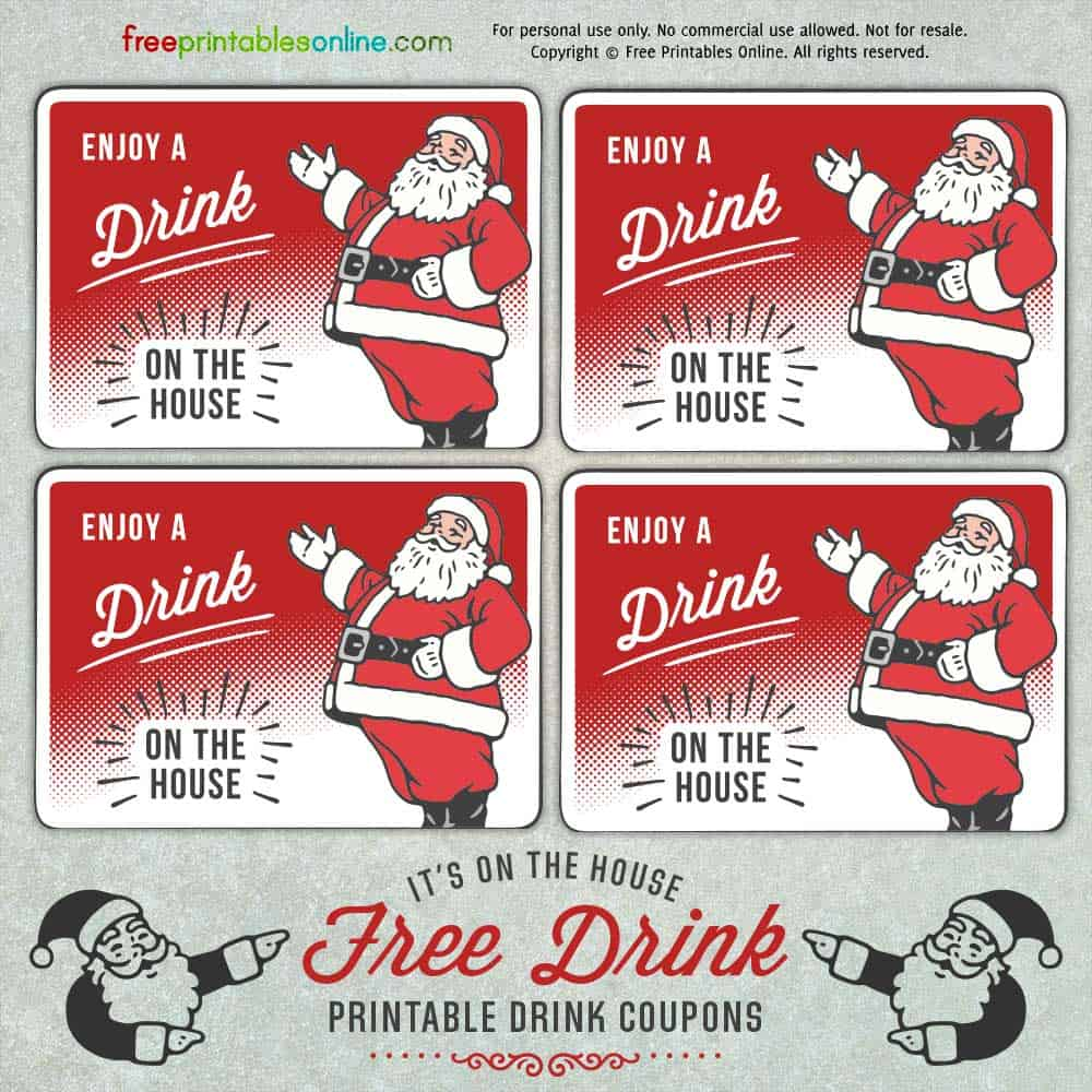 santa holiday drink ticket template free printables online