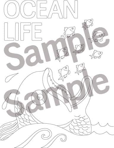 Fish and Whale coloring page