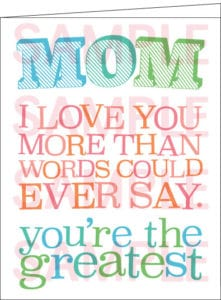 Mom I love you card