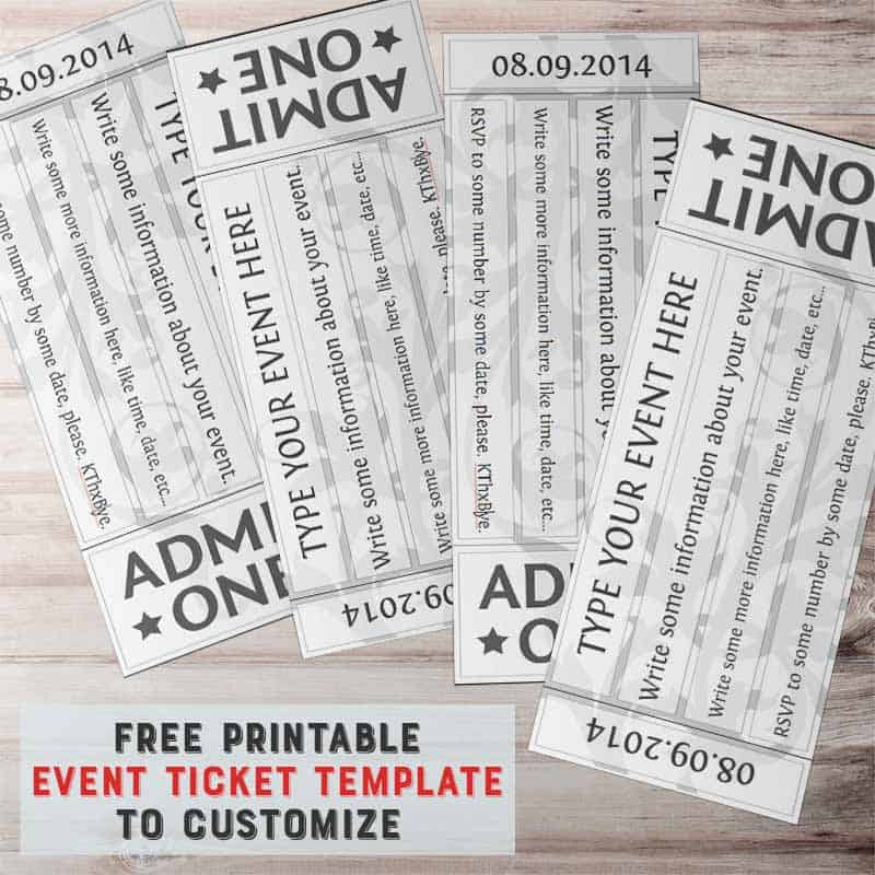 free printable event ticket template to customize. Black Bedroom Furniture Sets. Home Design Ideas