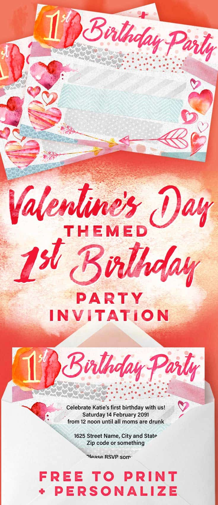 Valentine S Day 1st Birthday Party Invitations Free Printables Online