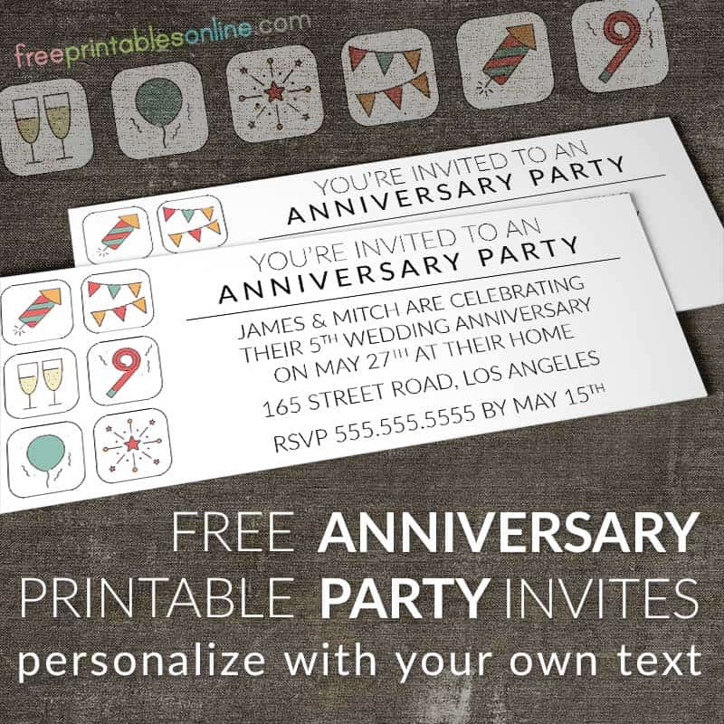 Anniversary Party Invites to Print