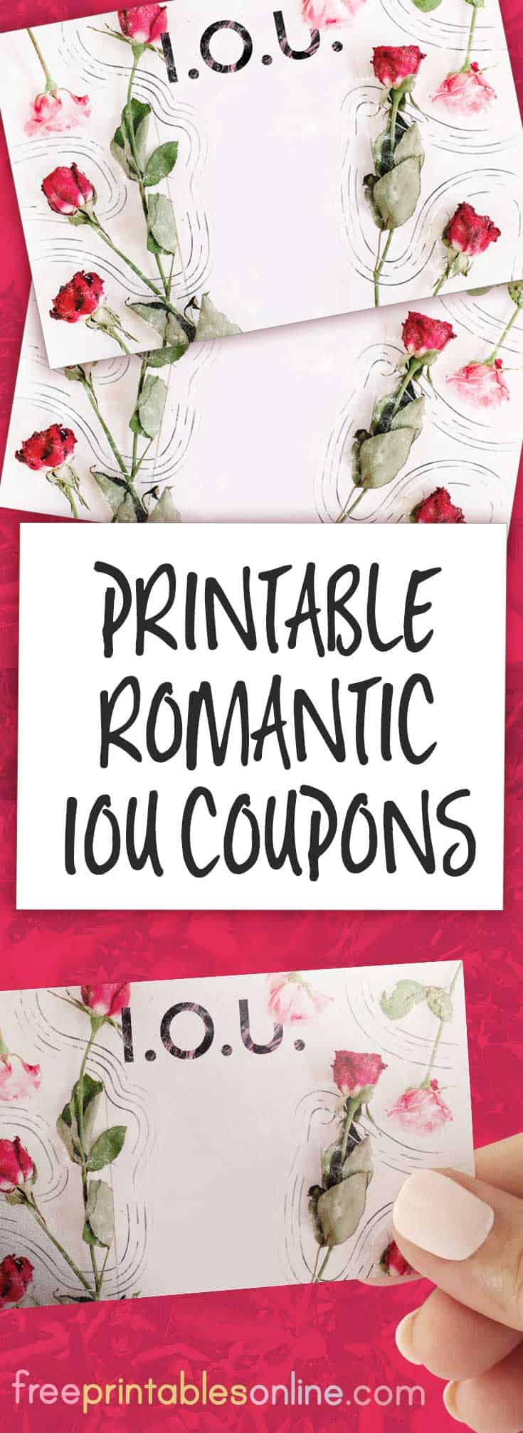 romantic iou coupon with roses