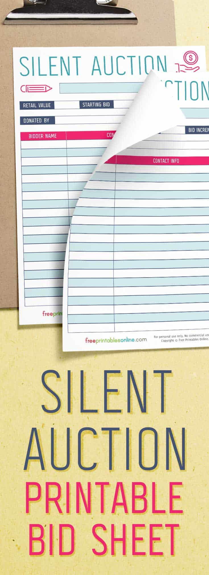 It is a picture of Gorgeous Free Printable Silent Auction Templates