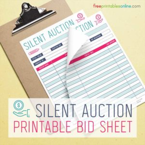 Silent Auction Bidding Sheet