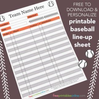 Printable Baseball Lineup Sheet