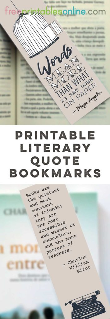 Literary Quote Bookmarks to Print