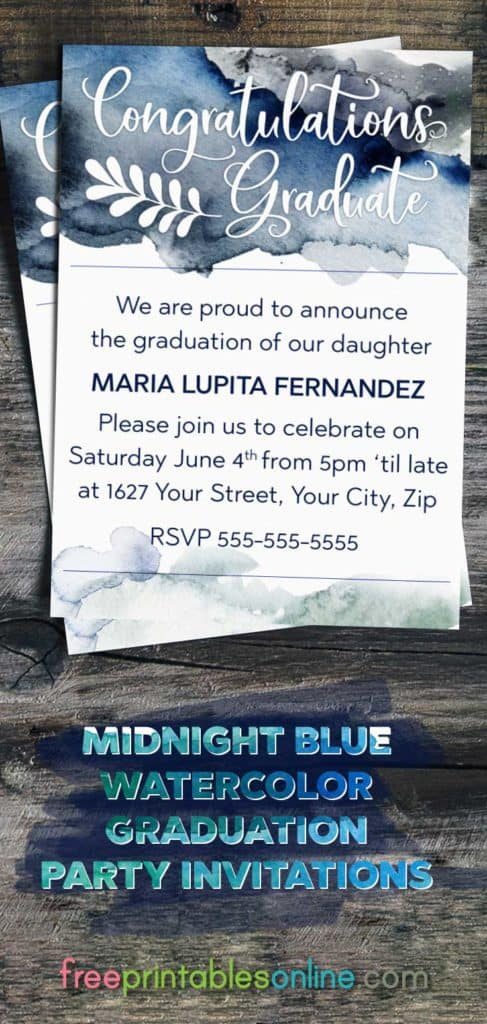 Midnight Blue Watercolor Graduation Invitations