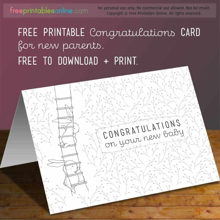 Congratulations on your new baby card free printables online baby bunny congratulations new baby greeting card m4hsunfo