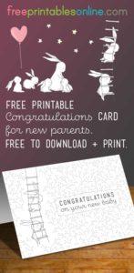 Baby Bunny Congratulations New Baby Card
