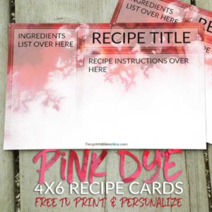 Pink Dye 4x6 Recipe Cards