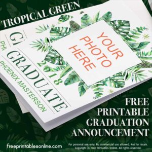 tropical green custom photo graduation announcements lights 2018 graduation invitation