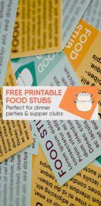 Free Printable Food Stub Tickets