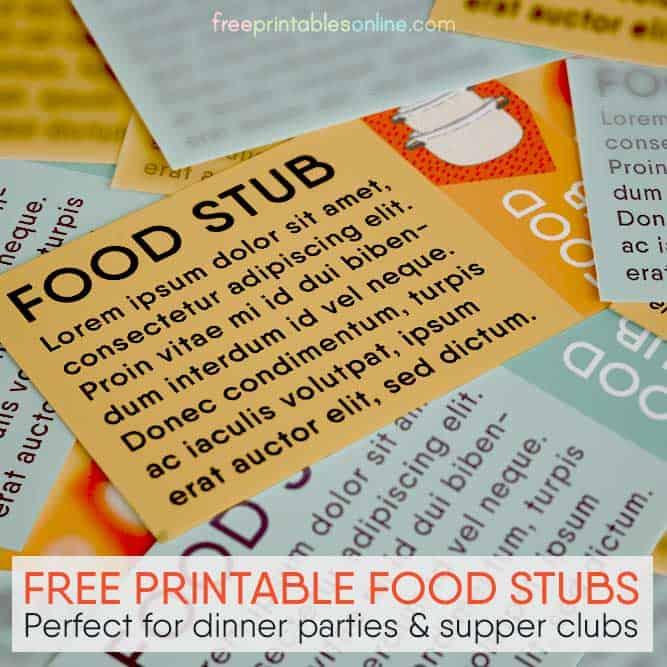 Free Printable Food Stubs