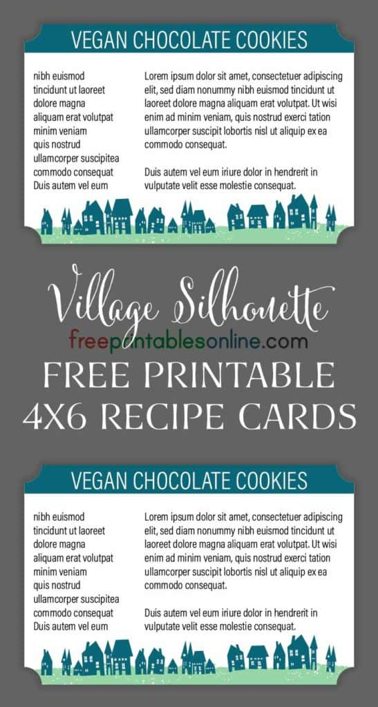 Village Silhouette 4x6 Recipe Cards