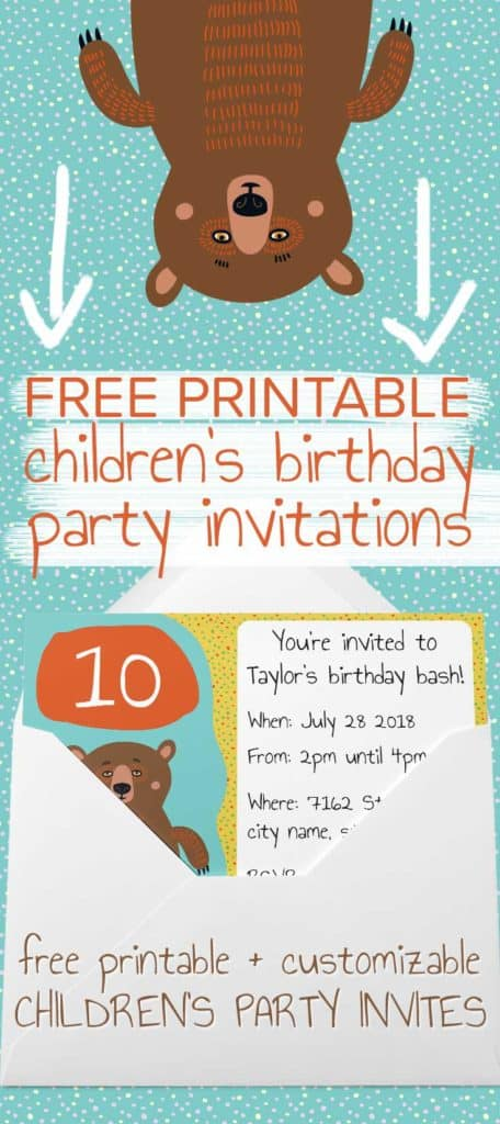 Free printable Children's party invites