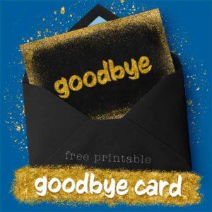 Gold Goodbye Card