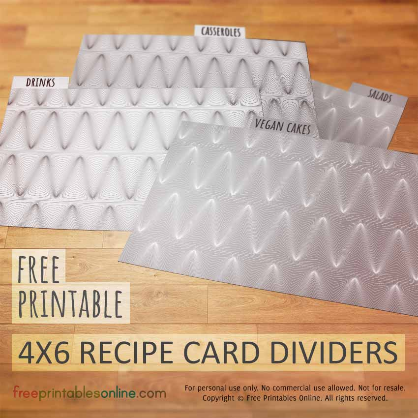 Peaks and Troughs 4x6 Recipe Card Dividers