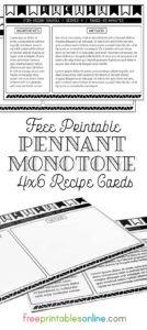 Monotone 4x6 Recipe Cards to print