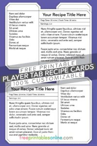 Player Tab Recipe Card templates