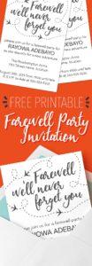 Free printable farewell invitation