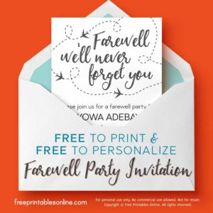 We'll Never Forget You Printable Farewell Invitation