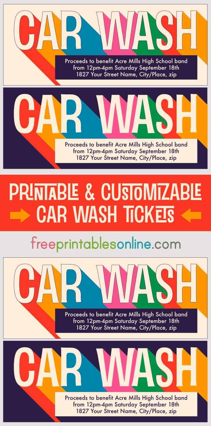 printable car wash tickets