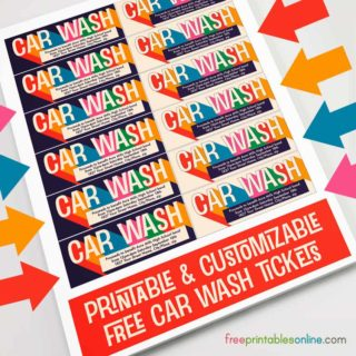 Printable Car Wash Tickets