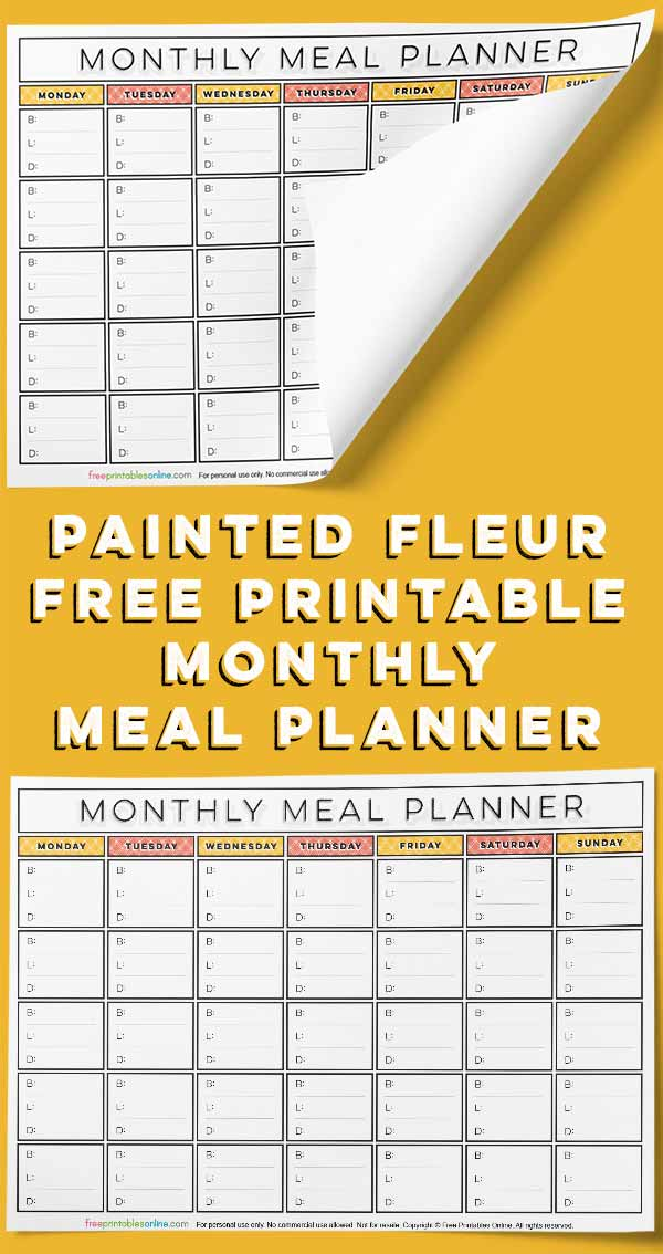 Painted Fleur Monthly Meal Planner
