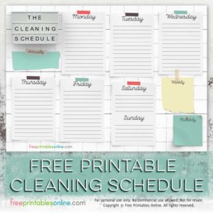 free printable cleaning schedule template