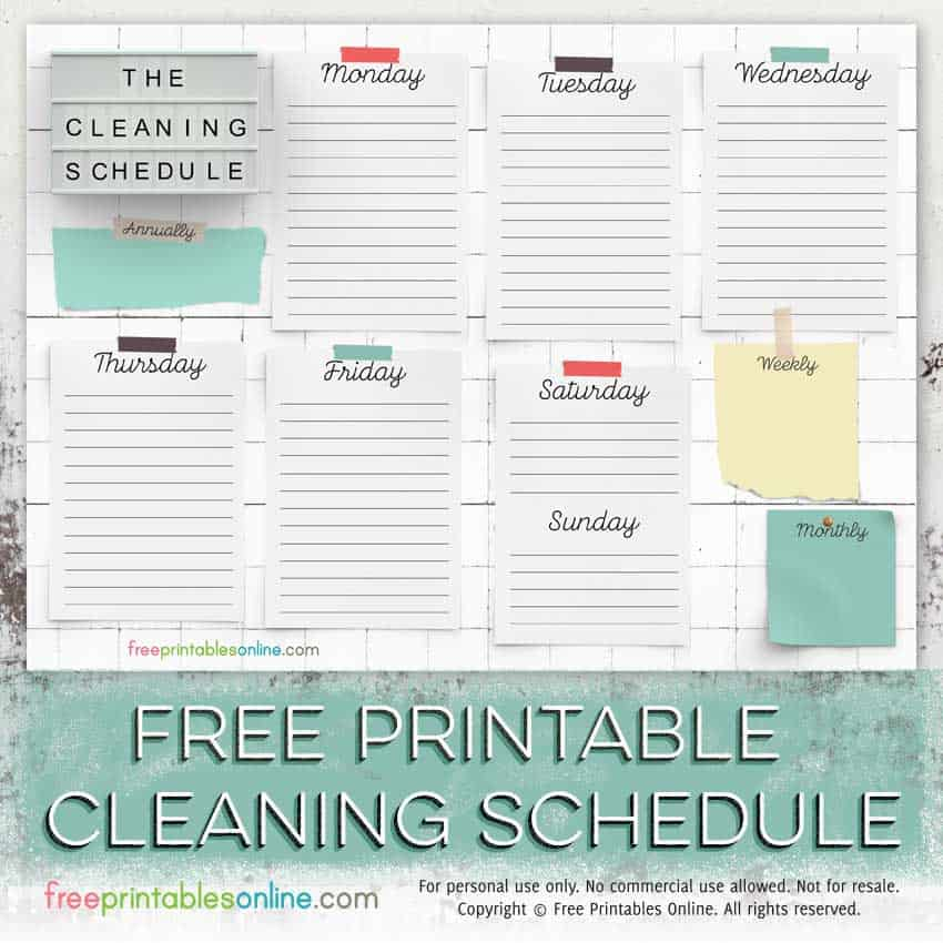 photo regarding Free Printable Cleaning Schedule Template identify Totally free Printable Cleansing Agenda Template - Totally free Printables