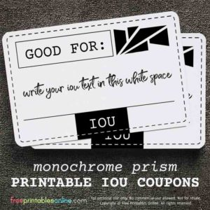 Monochrome Prism Good For IOU Coupon